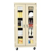 "Sandusky® See Thru 36"" x 24"" x 78"" Transport Mobile Clearview Storage Cabinet, Putty"