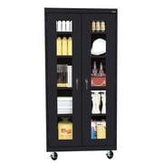 "Sandusky® See Thru 36"" x 18"" x 78"" Transport Mobile Clearview Storage Cabinet, Black"