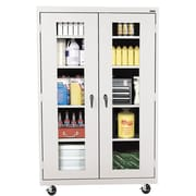 """Sandusky® See Thru 46"""" x 24"""" x 78"""" Transport Mobile Clearview Storage Cabinet, Dove Gray"""