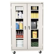 "Sandusky® See Thru 46"" x 24"" x 78"" Transport Mobile Clearview Storage Cabinet, Putty"