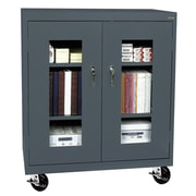 "Sandusky® See Thru 36"" x 24"" x 48"" Transport Mobile Clearview Counter Height Cabinet, Charcoal"