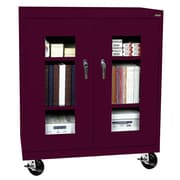 "Sandusky® See Thru 36"" x 18"" x 48"" Transport Mobile Clearview Counter Height Cabinet, Burgundy"