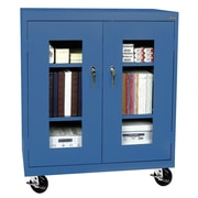 "Sandusky® See Thru 36"" x 18"" x 48"" Transport Mobile Clearview Counter Height Cabinet, Blue"