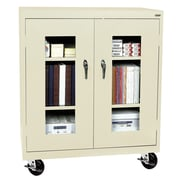 "Sandusky® See Thru 36"" x 18"" x 48"" Transport Mobile Clearview Counter Height Cabinet, Putty"