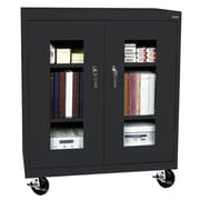 "Sandusky® See Thru 36"" x 24"" x 48"" Transport Mobile Clearview Counter Height Cabinet, Black"
