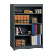 "Sandusky® Elite 36"" x 18"" x 52"" Steel Radius Edge Stationary Bookcase, Charcoal"