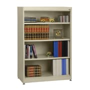 "Sandusky® Elite 36"" x 18"" x 52"" Steel Radius Edge Stationary Bookcase, Putty"