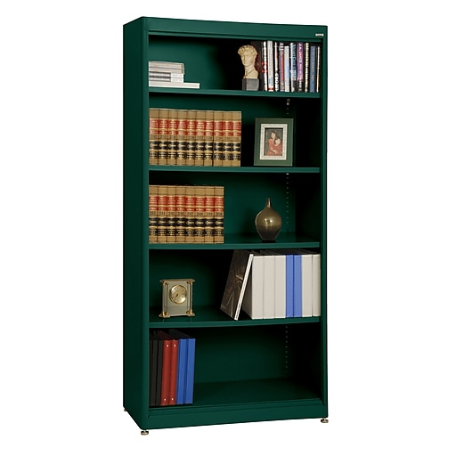 "Sandusky® Elite 72"" 5-Shelf Radius Edge Steel Stationary Bookcase, Forest Green (BA4R361872-08)"