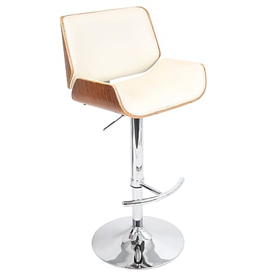 LumiSource® Santi Leatherette Barstool, Walnut/Cream