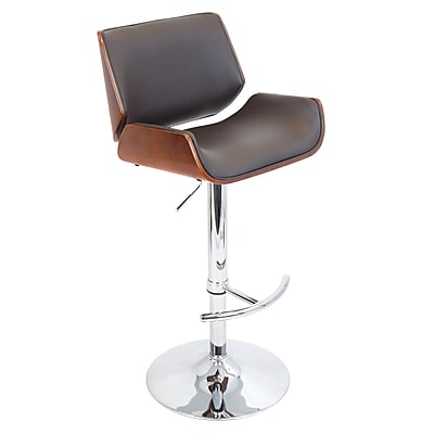 LumiSource® Santi Leatherette Barstool, Cherry/Brown
