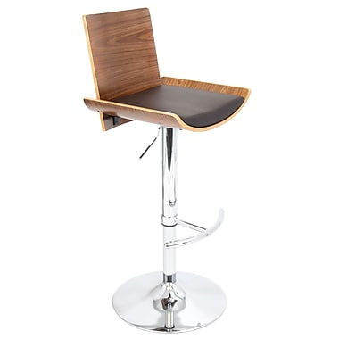 LumiSource® Vittorio Leatherette Barstool, Walnut/Brown
