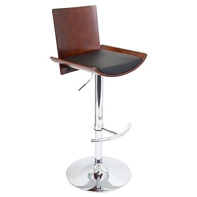 LumiSource® Vittorio Leatherette Barstool, Cherry/Black