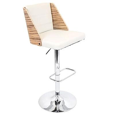 LumiSource® Galanti Leatherette Barstool, Zebra/Cream