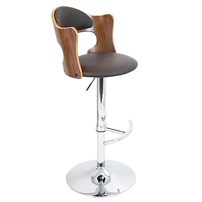 LumiSource® Cello Leatherette Barstool, Walnut/Brown