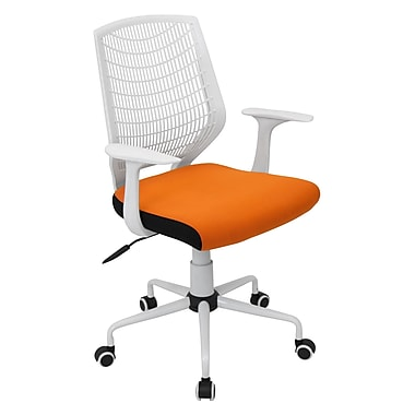 LumiSource Network Fabric Conference Office Chair, White/Orange, Fixed Arm (OFC-NET W+O)