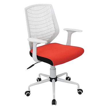 LumiSource OFC-NET Fabric Conference Office Chair, White/Red, Fixed Arm (OFC-NET W+R)