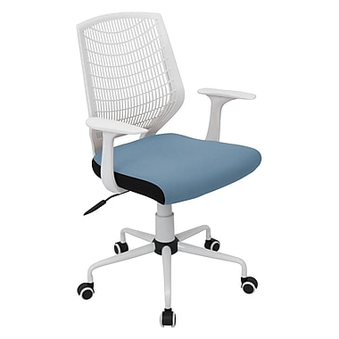 LumiSource OFC-NET Fabric Conference Office Chair, White/Blue, Fixed Arm (OFC-NET W+SMBU)