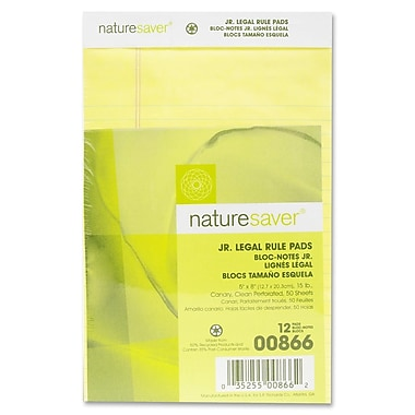 Nature Saver – Blocs-notes junior lignés légal recyclés, jaune, 5 po x 8 po, paq./12