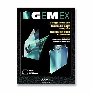 Gemex Badge Holders With Clips, 2-1/4