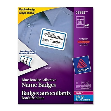 Avery® Name Badge Adhesive Labels, 2-1/3