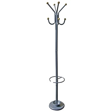 Ore International® Home Decorators Collection Metal/Wooden Coat Rack With Umbrella Stand, Silver