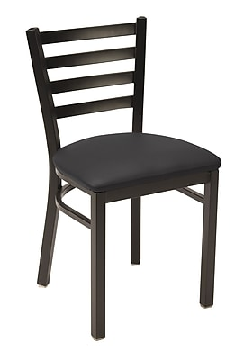 KFI Seating Vinyl Cafe Chair, Black