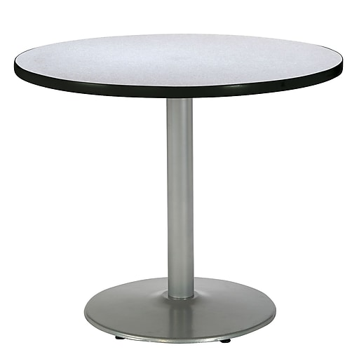 "KFI Seating 29"" x 42"" Round HPL Pedestal Table With Silver Base, Gray Nebula"