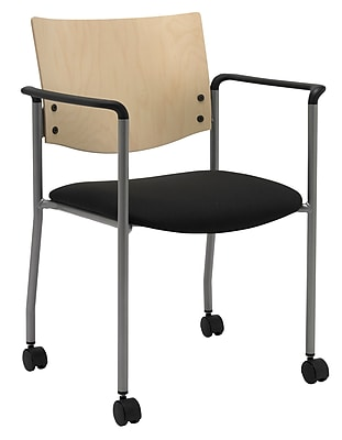 KFI Seating Fabric Armed Guest/Reception Chair With Casters, Black