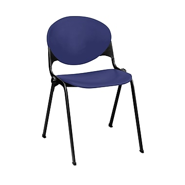 KFI Seating Polypropylene Stack Chair With Black Frame, Navy Blue