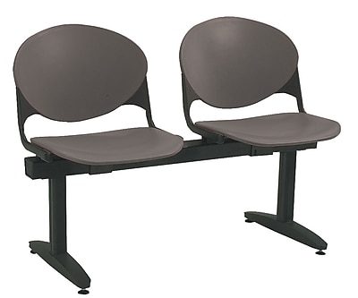 KFI Seating Polypropylene 2 Seat Beam Seating Chair, Charcoal