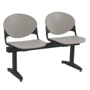 KFI Seating Polypropylene 2 Seat Beam Seating Chair, Gray