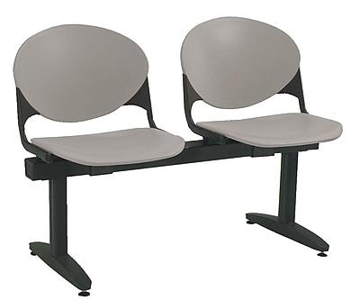 KFI Seating Polypropylene 2 Seat Beam Seating Chair, Gray