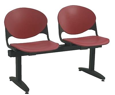 KFI Seating Polypropylene 2 Seat Beam Seating Chair, Burgundy