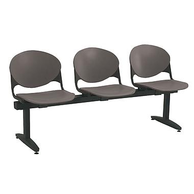 KFI Seating Polypropylene 3 Seat Beam Seating Chair, Charcoal