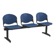 KFI Seating Polypropylene 3 Seat Beam Seating Chair, Navy Blue