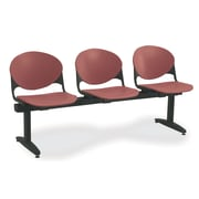 KFI Seating Polypropylene 3 Seat Beam Seating Chair, Burgundy