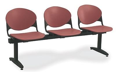 KFI Seating Polypropylene 3 Seat Beam Seating Chair, Burgundy