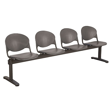 KFI Seating Polypropylene 4 Seat Beam Seating Chair, Charcoal