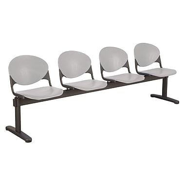 KFI Seating Polypropylene 4 Seat Beam Seating Chair, Gray