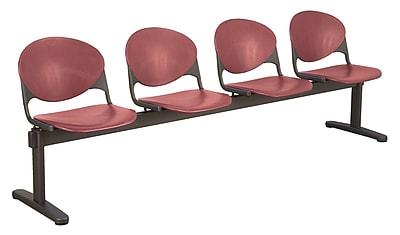 KFI Seating Polypropylene 4 Seat Beam Seating Chair, Burgundy