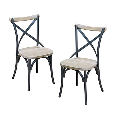 Walker Edison Urban Reclamation Wood Deluxe Dining Chair, 2/Pack (CWM2MDX)