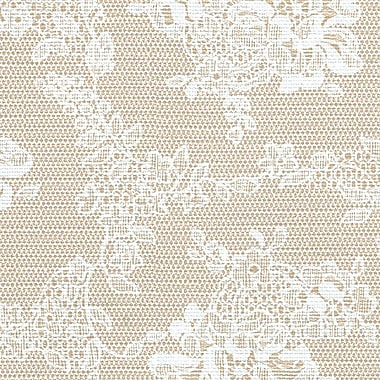 Flannel Backed Vinyl, Beige Lace, 54