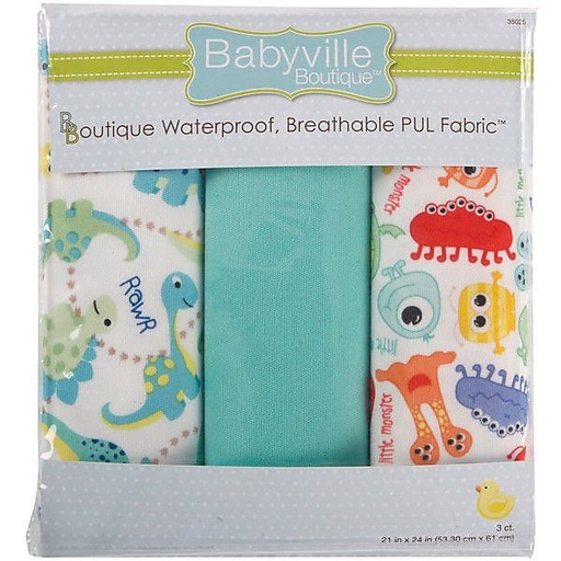 "Dritz Babyville PUL Waterproof Diaper Fabric 21/""X24/"" Cuts 3//Pkg-Boy Solids"