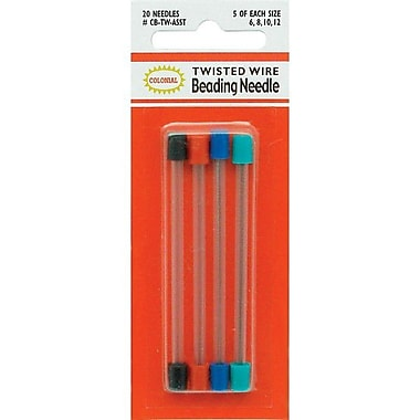 Colonial Needle Twisted Wire Beading Needles, Assorted Sizes, 20/Pack