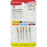 Singer Ball Point Machine Needles, Assorted Sizes, 5/Pack