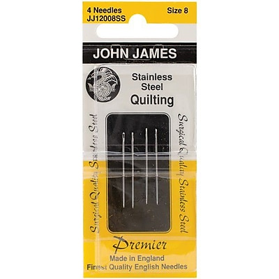Colonial Needle Stainless Steel Quilting Needles, Size 8, 4/Pack