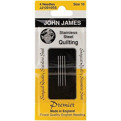 Colonial Needle Stainless Steel Quilting Needles, Size 10, 4/Pack