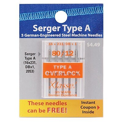 Klasse Serger Machine Needles, Size 80/12, 5/Pack