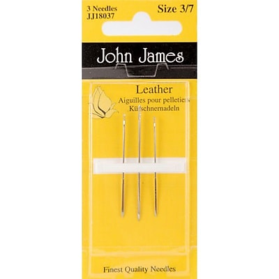 Colonial Needle Leather Hand Needles, Size 3/7, 3/Pack