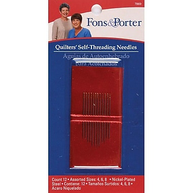 Fons & Porter Quilters Self Threading Needles, Sizes 4/6/8, 12/Pkg